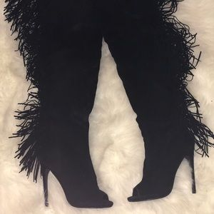 Shoes - Black thigh high fringe boots